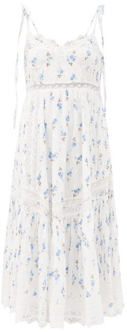 LoveShackFancy Antonella Floral-print Cotton-voile Midi Dress - White Multi