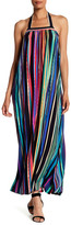 Maggy London Painted Stripe Halter Maxi Dress