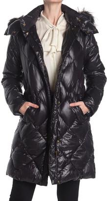 Donna Karan Quilted Faux Fur Hood Puffer Jacket