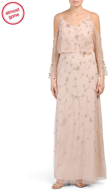 Adrianna Papell Beaded Embroidered Long Gown