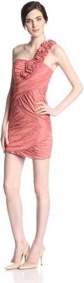 BCBGMAXAZRIA Women's Evangeline One Shoulder Dress Orange 0