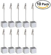 NUOLUX 10pcs Memo Clip Holder Stand with Alligator Clasp for Pictures Card Paper Note Clip (Silver)