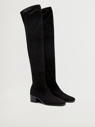 MANGO Suedette Over The Knee Boots - Black