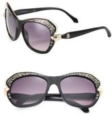 Roberto Cavalli Animal-Print 56MM Geometric Round Sunglasses
