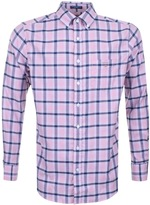 Gant Linen Regular Long Sleeve Check Shirt Pink