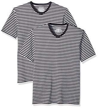 Amazon Essentials Slim-Fit Short-Sleeve Stripe V-Neck T-Shirts (Pack of 2) S