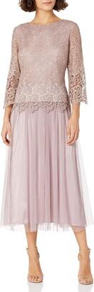 Alex Evenings Women's Tea Length Mock Dress with Tulle Skirt