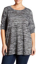 Bobeau Long Sleeve Space Dye Tunic (Plus Size)