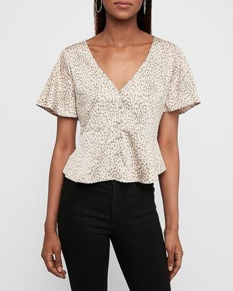 Express Leopard Print Short Sleeve Peplum Shirt