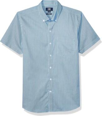 Cutter & Buck Men's Short Sleeve Strive Rail Stripe Button Up Shirt