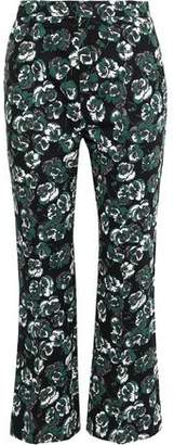 Marni Printed Cotton And Linen-blend Twill Flared Pants