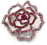 Avalaya Stunning Pink Crystal Rose Brooch (Silver Tone)