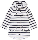 Barbour Navy and White Trevose Stripe Waterproof Detachable Hooded Jacket