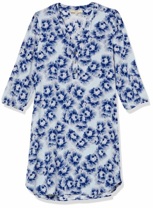 Lark & Ro Women's Three Quarter Sleeve Shirt Dress