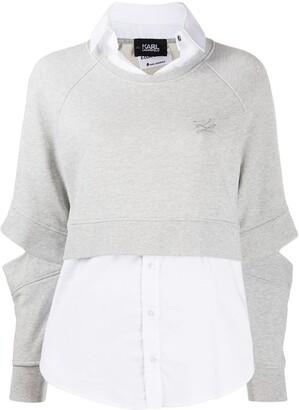 Karl Lagerfeld Paris Double-Layered Cotton Sweatshirt