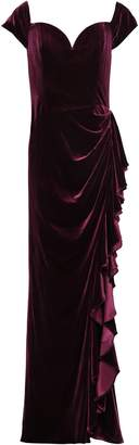 Badgley Mischka Ruched Velvet Gown