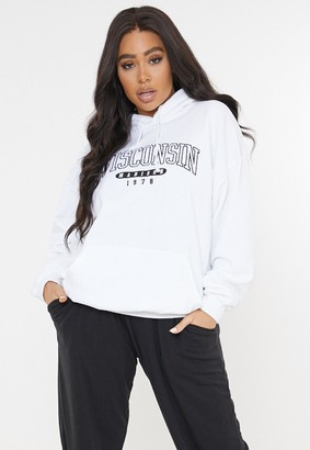 Missguided Plus Size White Wisconsin Oversized Hoodie