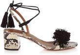 Aquazzura Wild Thing fringed snakeskin sandals