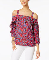 NYDJ Ruffled Cold-Shoulder Top