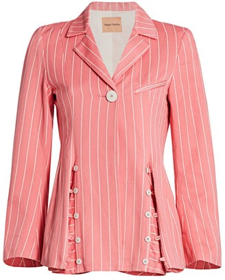 Maggie Marilyn Follow Your Heart Stripe Peplum Blazer