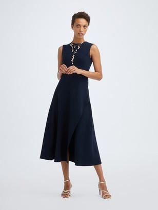 Oscar de la Renta Sleeveless Stretch Wool Slit Dress