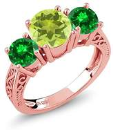 Gem Stone King 2.88 Ct Yellow Lemon Quartz Green Simulated Emerald 18K Rose Gold Plated Silver 3-Stone Ring