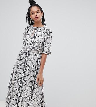 Miss Selfridge midi dress with metal trim in snake print-Grey