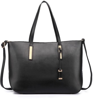 Miss Lulu Women's Faux Leather Handle Tote Bag