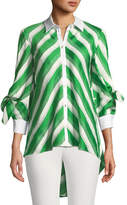 Lela Rose Bow-Sleeve Striped Satin High-Low Shirt