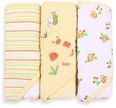 SpaSilk Baby Stripe/Duck Applique/Duck Print 3-Count Terry Hooded Towel in Yellow