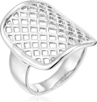 "Zina Sterling Silver ""Trellis Saddle Ring Size 8"