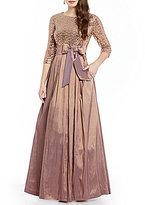 Jessica Howard Petite 3/4-Sleeve Sequin Taffeta Ballgown