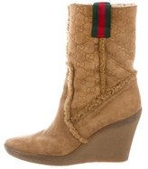 Gucci Suede Wedge Ankle Boots