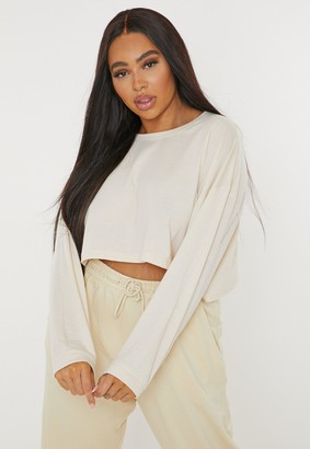 Missguided Plus Size Sand Long Sleeve Cropped T Shirt