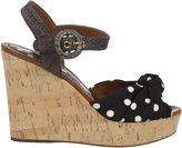 Dolce & Gabbana Black/white Polka Dot Wedge Sandals