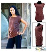 Cotton Knit Tunic, 'Side Cinch Brown'