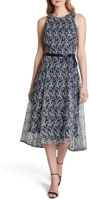 Tahari Embroidered Halter Dress