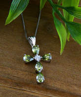Silver Cross Vera & Co. Women's Necklaces - Olive Cubic Zirconia & Sterling Pear-Cut Pendant Necklace