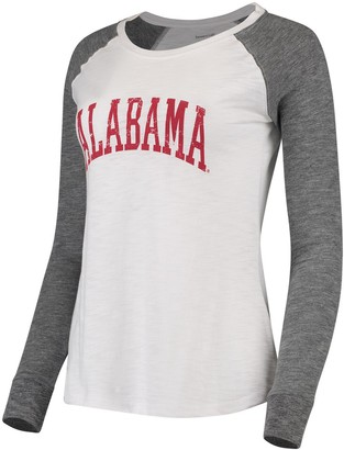 Unbranded Women's White/Gray Alabama Crimson Tide Preppy Elbow Patch 2-Hit Arch and Logo Long Sleeve T-Shirt