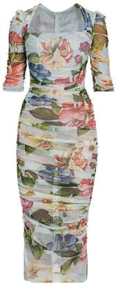 Dolce & Gabbana Tulle Floral-Print Ruched Dress
