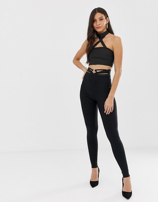The Girlcode bandage high waist trouser with cut out belt detail in black