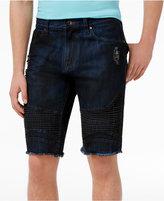 GUESS Men's Dark Wash Moto Shorts