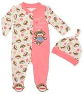 Baby Starters 2-Piece Sock Monkey Footie and Hat Set in Pink