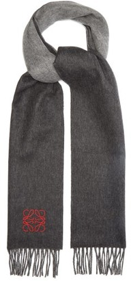 Loewe Panelled Anagram-embroidered Cashmere Scarf - Grey