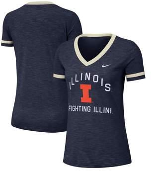 Nike Women's Heathered Navy Illinois Fighting Illini Performance Cotton Slub Retro Fan V-Neck T-Shirt