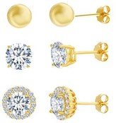 Bliss 18k Gold Sterling Silver Cz Halo Ball Trio Post Earring Set.