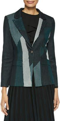 Misook Color Play Pinstripe Knit Blazer