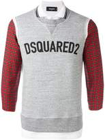 DSQUARED2 logo sweatshirt detail polo shirt