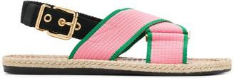 Marni canvas-strap jute fussbett sandals