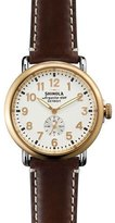 Shinola 41mm Runwell Gold Watch with Leather Strap, Brown